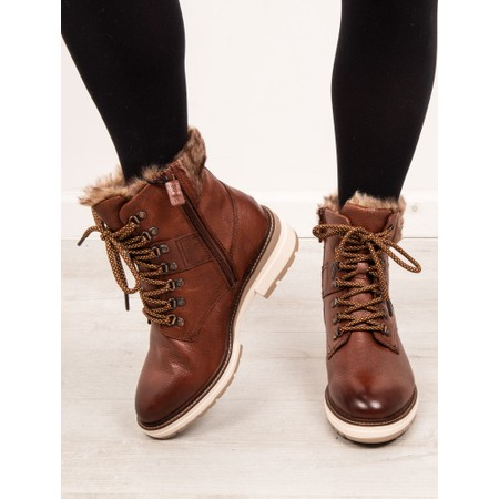 Tamaris  Hiker Leather Duotex Fur Trim Boot  - Brown