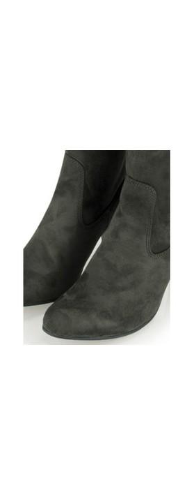 Caprice Footwear Britt Stretch Faux Suede Long Boot Dark Grey