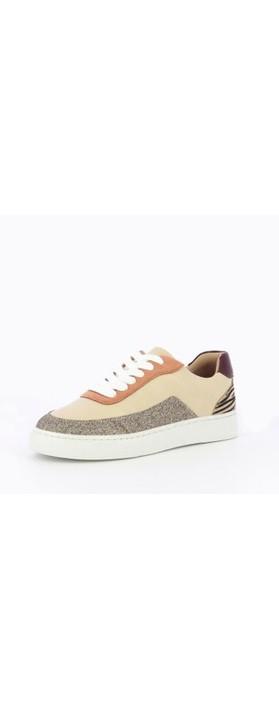 Vanessa Wu Chrissy Trainer Shoe Beige / Silver / Zebra