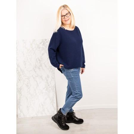 Amazing Woman  Freddie Round Neck Cashmere Mix Rib Knit - Blue