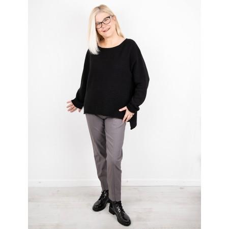 Amazing Woman  Freddie Round Neck Cashmere Mix Rib Knit - Black
