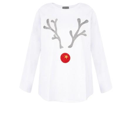 Chalk Tasha Giant Reindeer Top - White