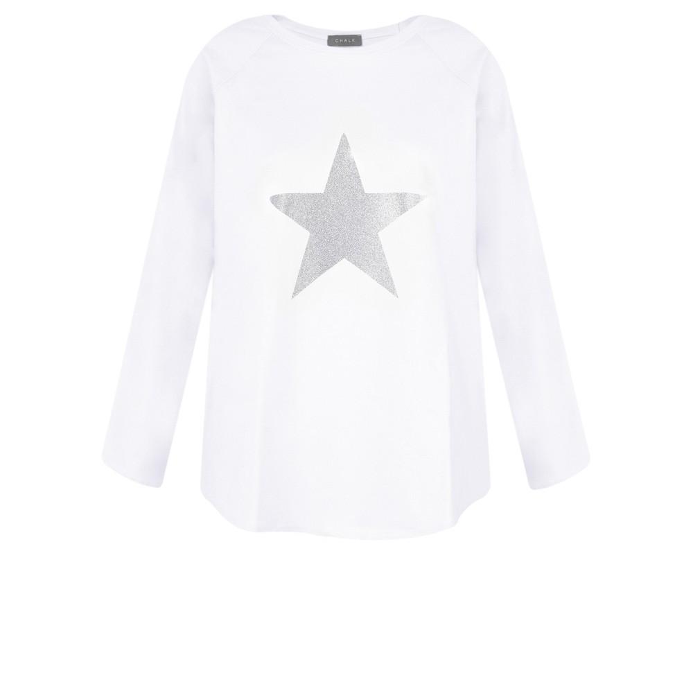Chalk Tasha Star Top White / Silver Glitter
