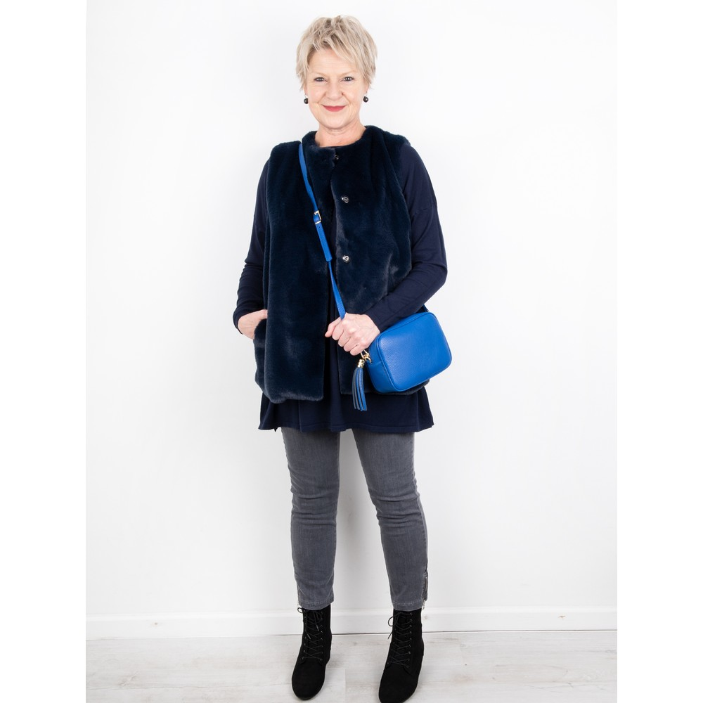 Amazing Woman Wells Round Neck Slouch Knit Bright Navy Blu