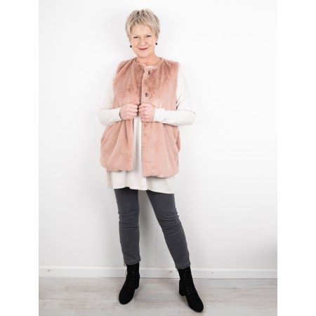 Amazing Woman  Cuddle Faux Fur Gilet - Pink