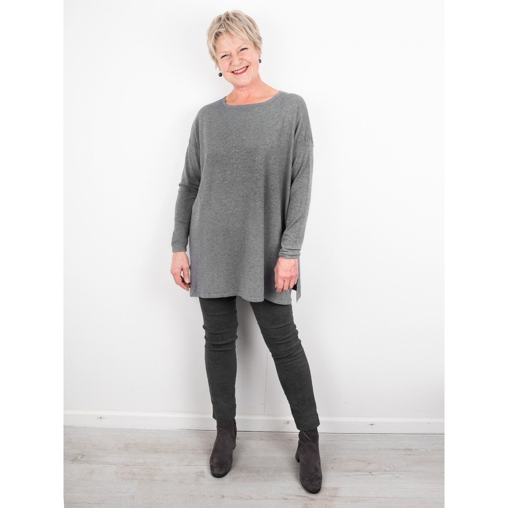 Amazing Woman Wells Round Neck Slouch Knit Grey Marl