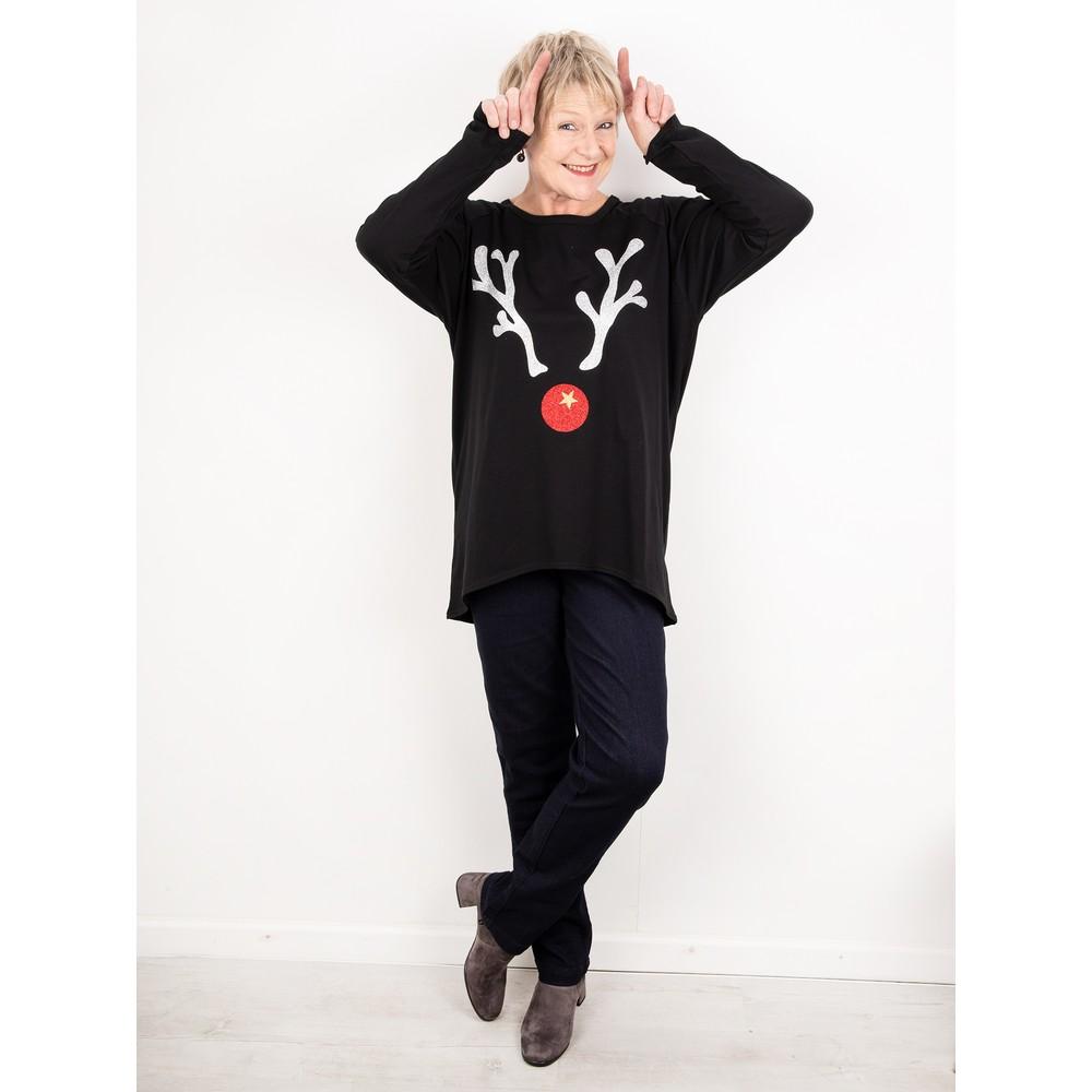 Chalk Robyn Giant Reindeer Top Black / Silver Gltr / Red Gltr