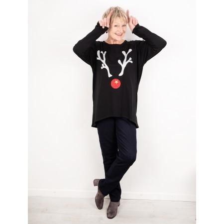 Chalk Robyn Giant Reindeer Top - Black