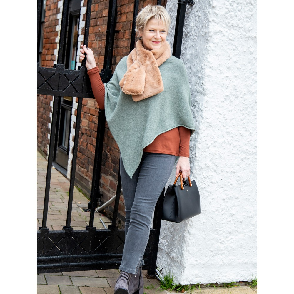 Amazing Woman Poncho in Supersoft Knit  Olive Green