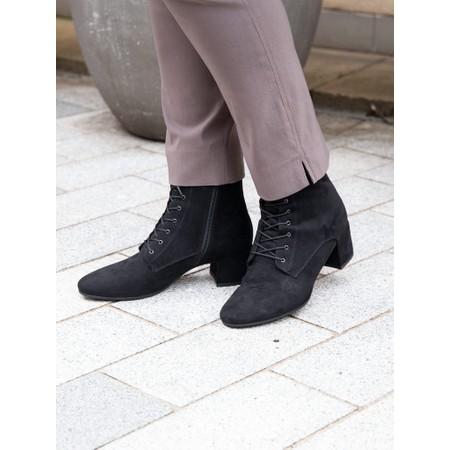 Tamaris Cika Lace Front Faux Suede Ankle Boot - Black
