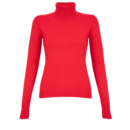 Amazing Woman  Britt Fineknit Fitted Polo Neck Jumper - Red