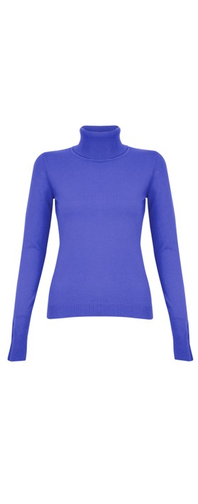 Amazing Woman Britt Fineknit Fitted Polo Neck Jumper Royal Marl
