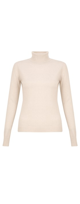 Amazing Woman  Britt Fineknit Fitted Polo Neck Jumper Off White