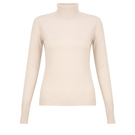 Amazing Woman Britt Fineknit Fitted Polo Neck Jumper - White
