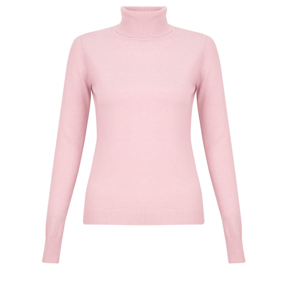 Amazing Woman Britt Fineknit Fitted Polo Neck Jumper Pink Rose