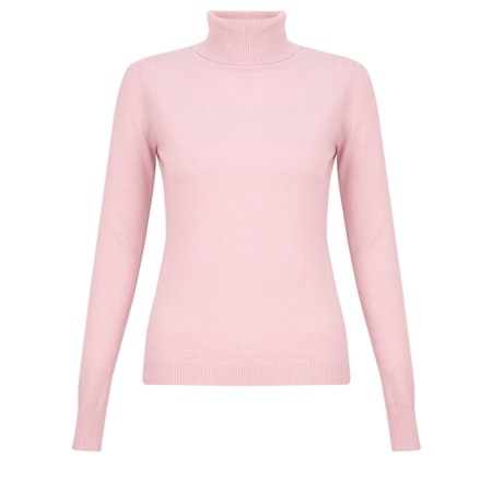 Amazing Woman Britt Fineknit Fitted Polo Neck Jumper - Pink
