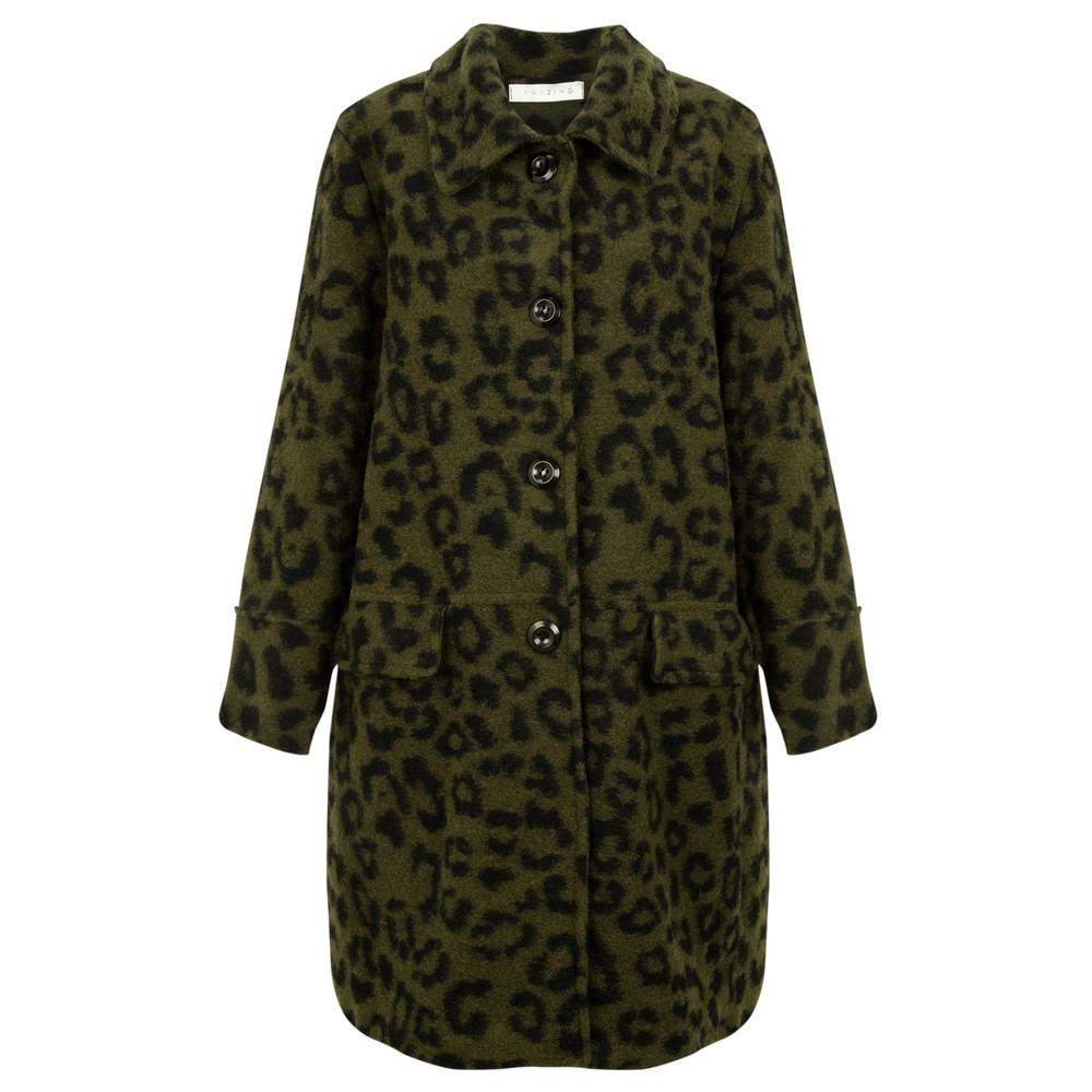 Amazing Woman  Mila Boiled Wool Coat Black / Khaki