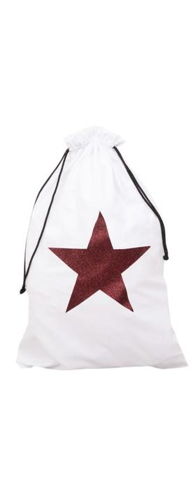 Chalk Home Christmas Santa Sack White / Red Glitter Star