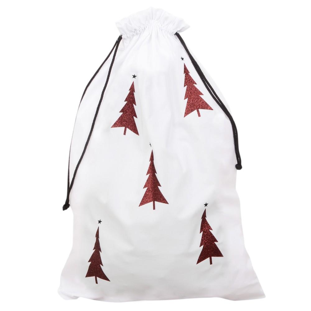 Chalk Home Christmas Santa Sack White / Red Glitter Tree