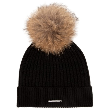 BKLYN Calda Merino Ribbed Hat with Pom - Black