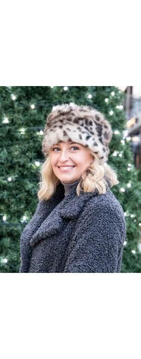 Helen Moore Pillbox Faux Fur Hat Ocelot