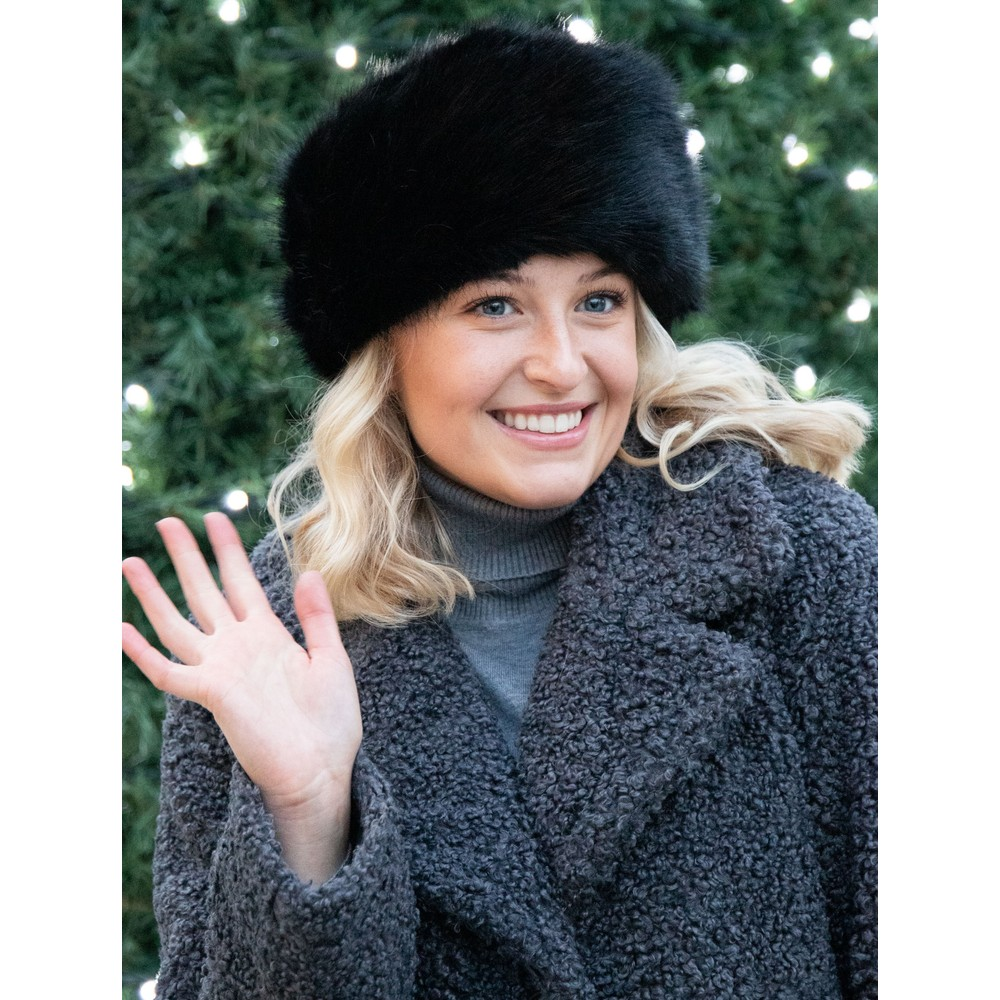 Helen Moore Pillbox Faux Fur Hat Jet