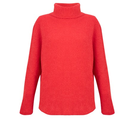 Amazing Woman  Cosy Knit Ribbed Polo - Red