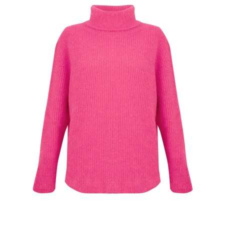 Amazing Woman  Carla E Cosy Knit Ribbed Polo Neck - Pink