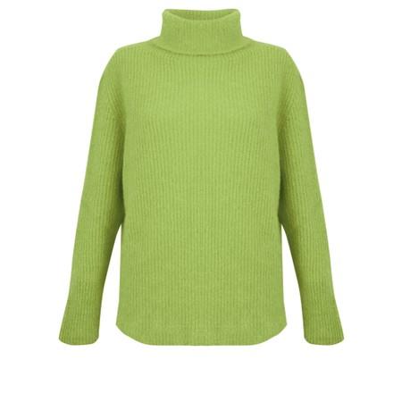 Amazing Woman  Carla E Cosy Knit Ribbed Polo Neck - Green