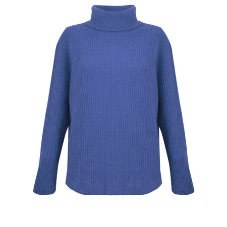 Amazing Woman  Cosy Knit Ribbed Polo - Blue