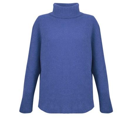 Amazing Woman  Carla E Cosy Knit Ribbed Polo Neck - Blue