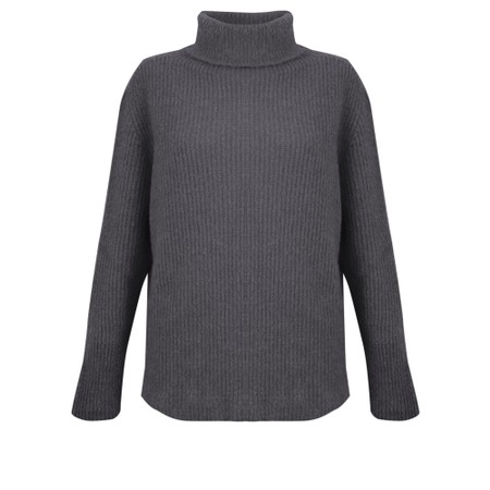 Amazing Woman  Cosy Knit Ribbed Polo - Black