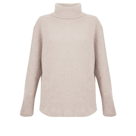 Amazing Woman  Cosy Knit Ribbed Polo - Off-White