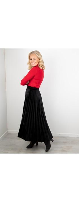 Pour Moi Velvet Pleated Skirt Black