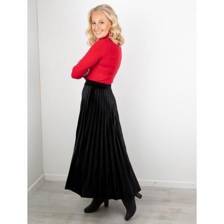 Pour Moi Velvet Pleated Skirt - Black