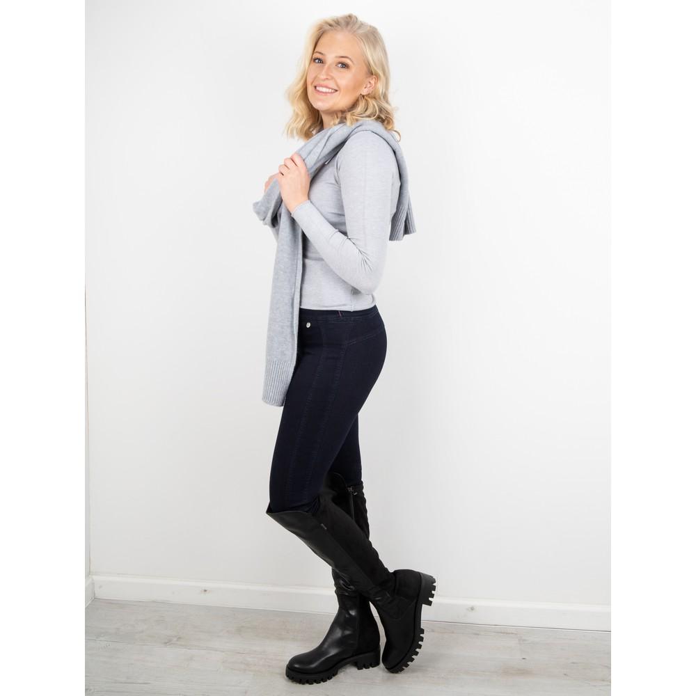 Amazing Woman  Tara V Neck Slimfit Fine Knit Jumper Silver Marl