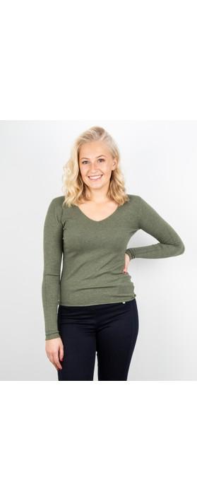 Amazing Woman Tara V Neck Slimfit Fine Knit Jumper Khaki