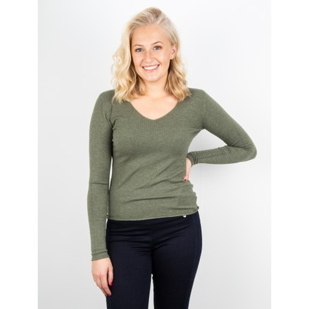 Amazing Woman Tara V Neck Slimfit Fine Knit Jumper - Green