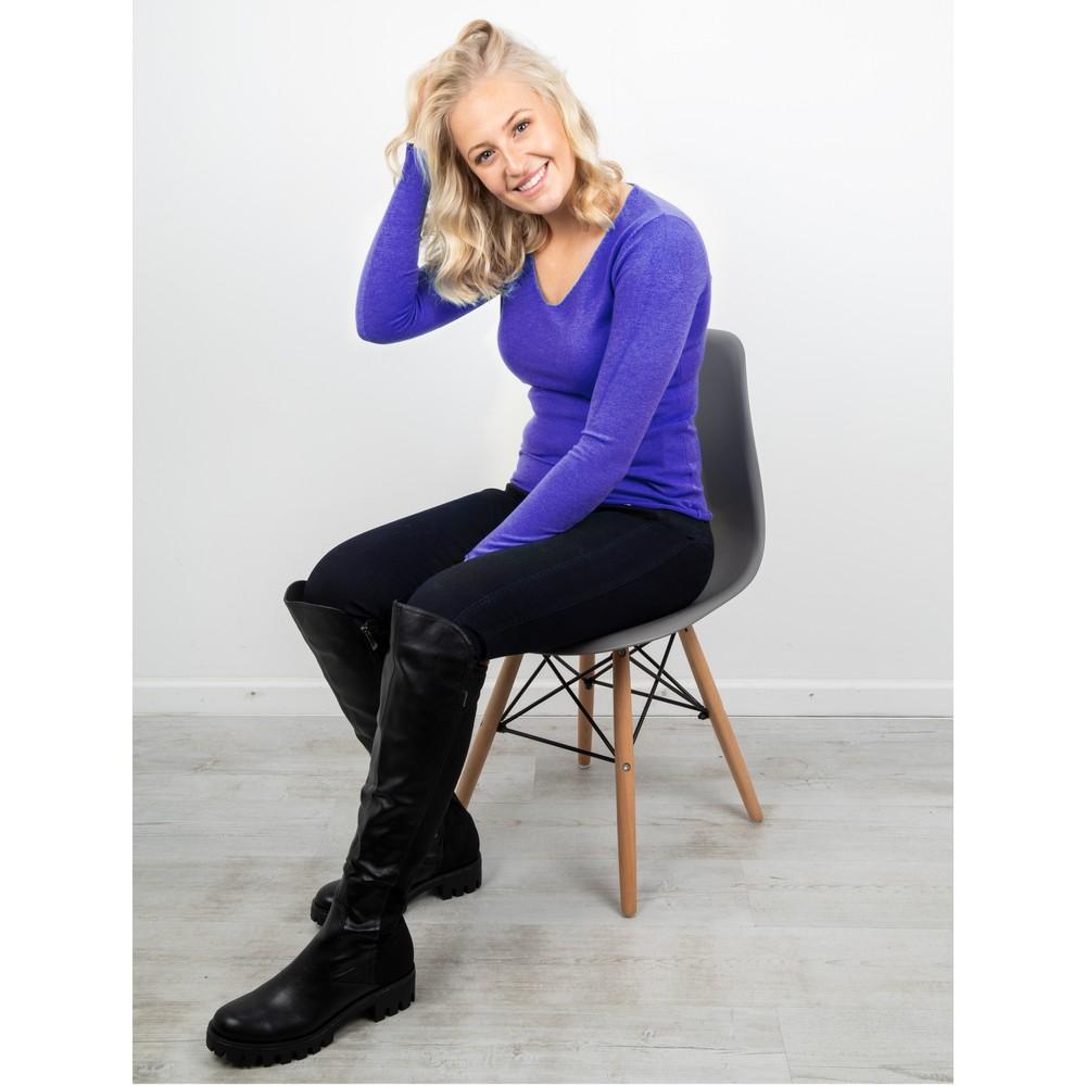 Amazing Woman Tara V Neck Slimfit Fine Knit Jumper Royal Marl