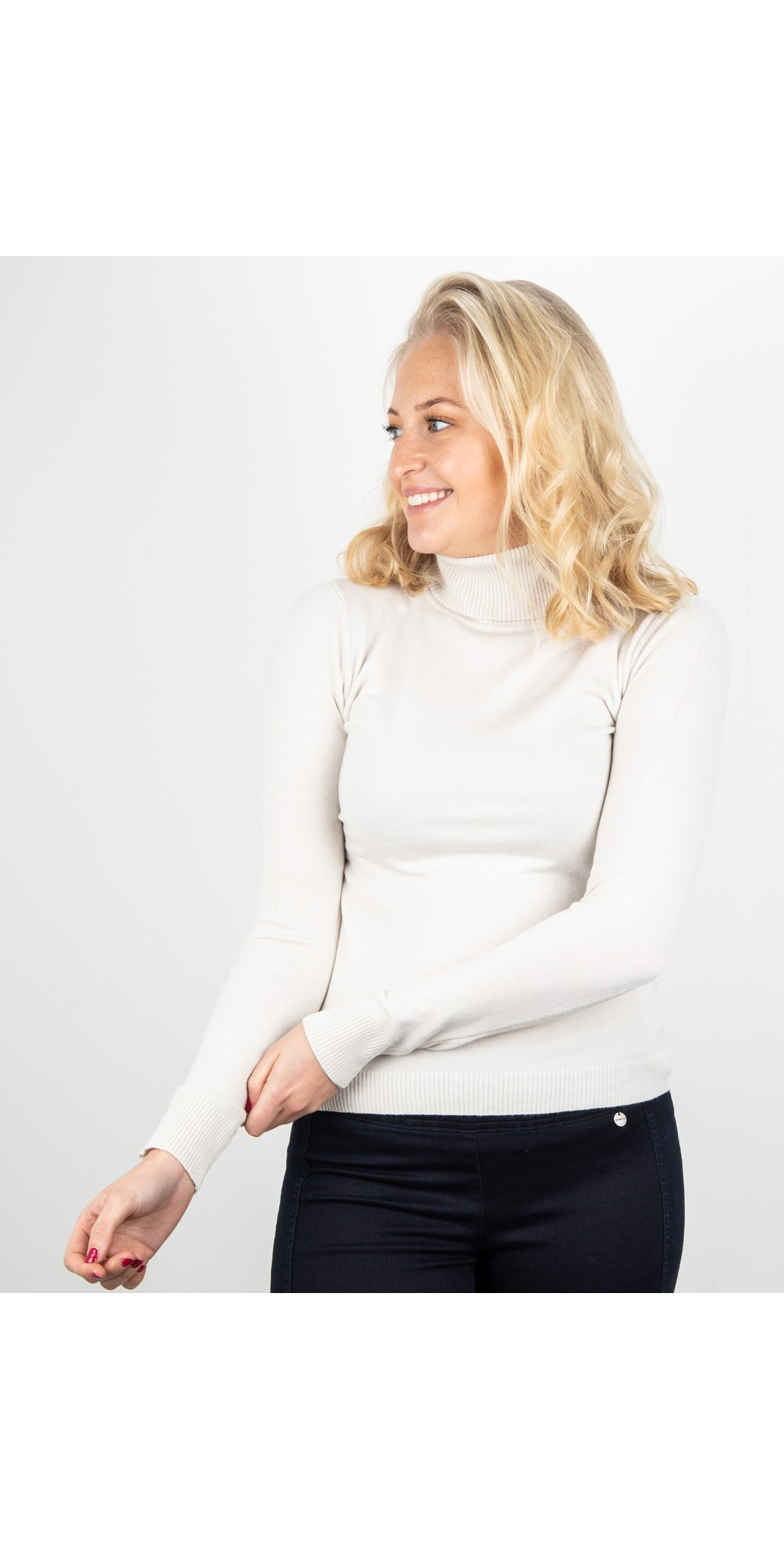 Britt Fineknit Fitted Polo Neck Jumper main image