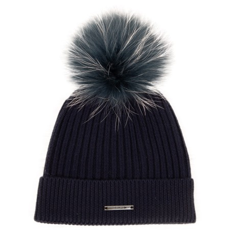 BKLYN Calda Merino Ribbed Hat with Pom - Blue