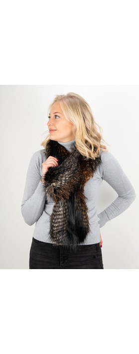Helen Moore Loop Faux Fur Scarf Brown Quail