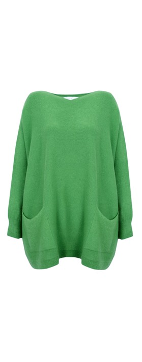 Amazing Woman Caryf X Round Neck Oversized Jumper Green