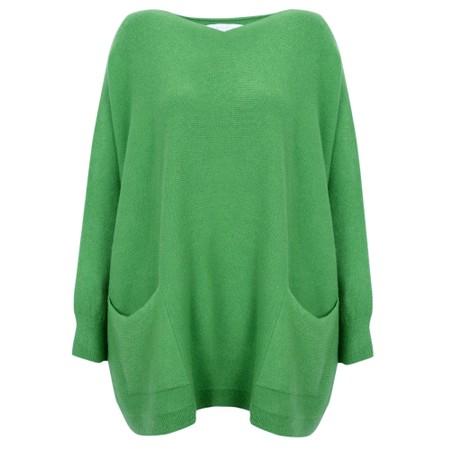 Amazing Woman  Carys X Round Neck Oversized Jumper - Green