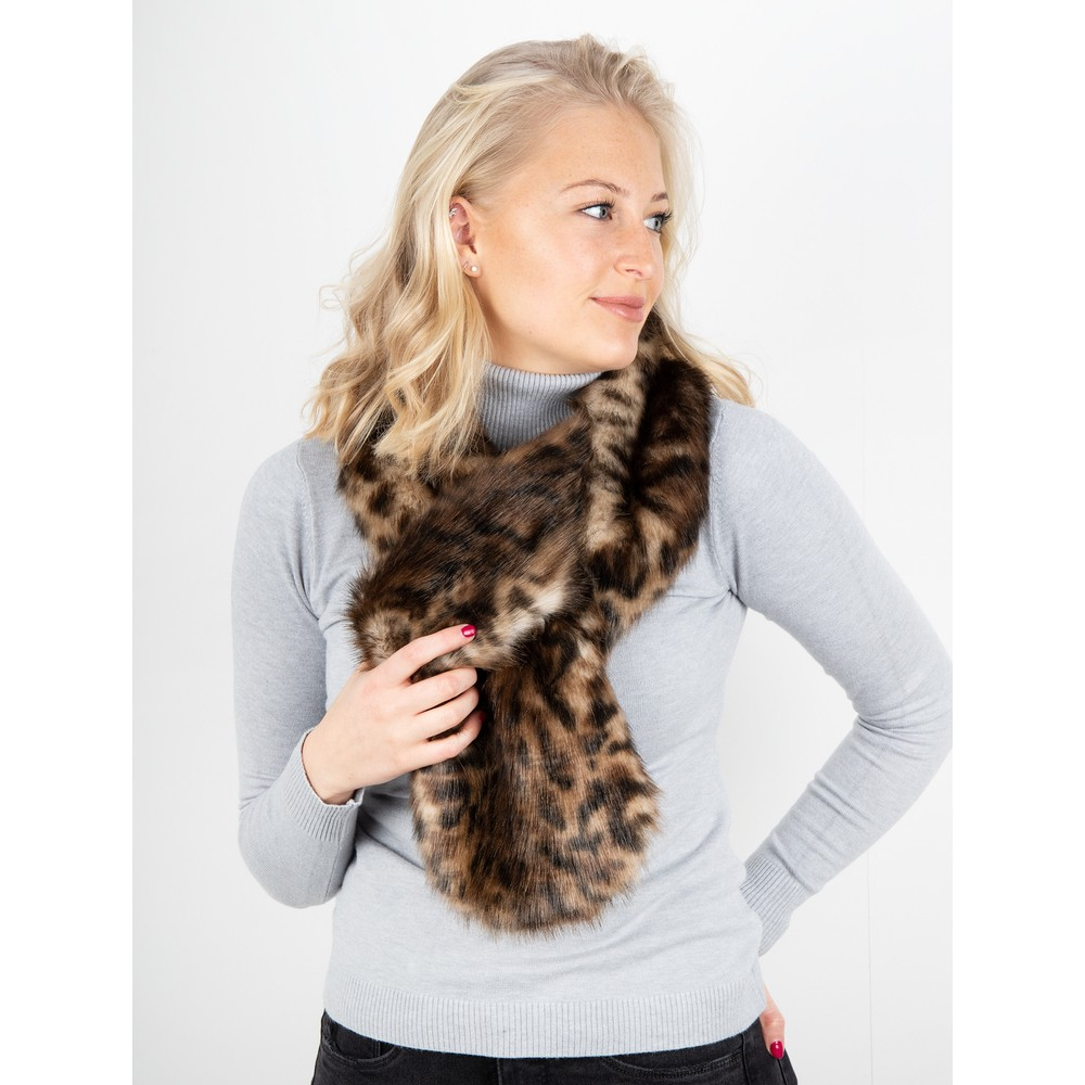 Helen Moore Loop Faux Fur Scarf Ocelot