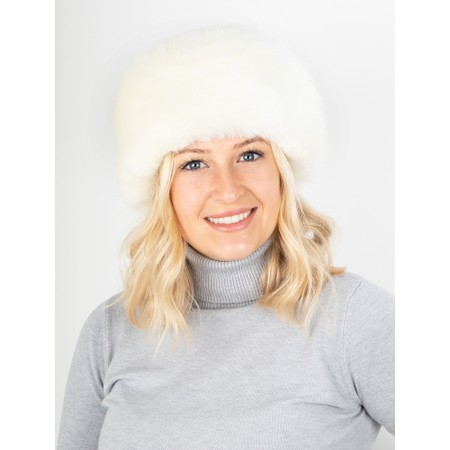 Helen Moore Pillbox Faux Fur Hat - White