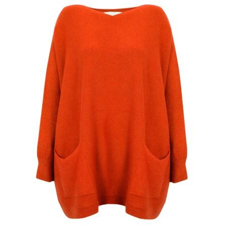 Amazing Woman  Carys X Round Neck Oversized Jumper - Orange