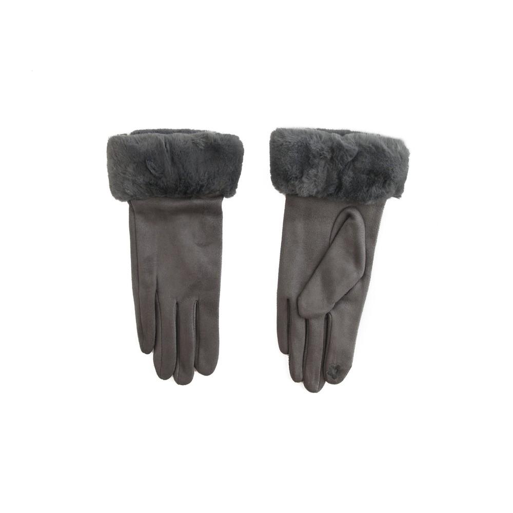 Gemini Label Accessories Nala Fur Trim Gloves Grey