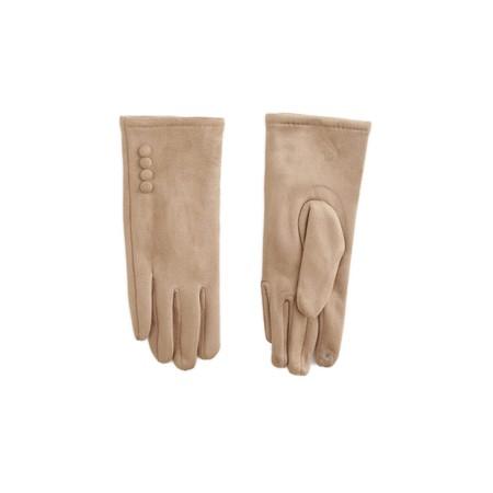 Gemini Label Accessories Nancy Faux Suede Button Trimaa Glove - Beige