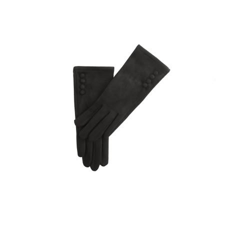 Gemini Label Accessories Nancy Faux Suede Button Trimaa Glove - Black